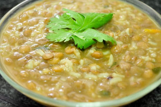 Orange Lentils Soup in a Glass Bowl