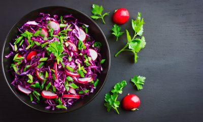 red cabbage, radish and apples