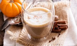 Healthy pumpkin spice latte with spices and pumpkin puree