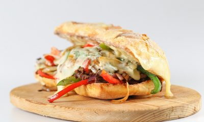 Tasty vegetarian cheese steak sandwich