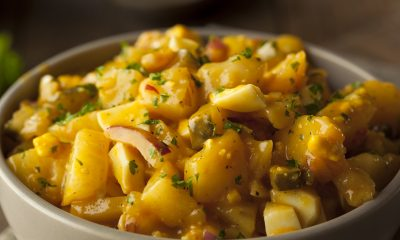 Vegan Potato Salad with fresh herbs and turmeric