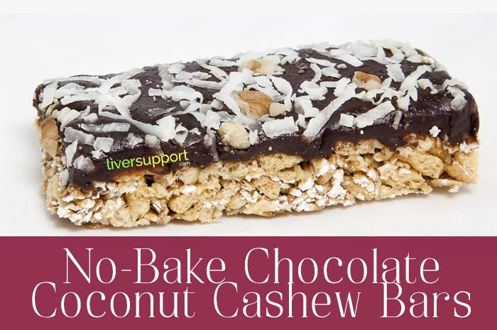 liver-friendly no bake chocolate coconut cashew bars