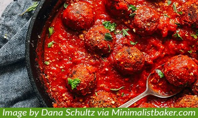 liver-friendly, gluten-free, meatless meatballs in marinara