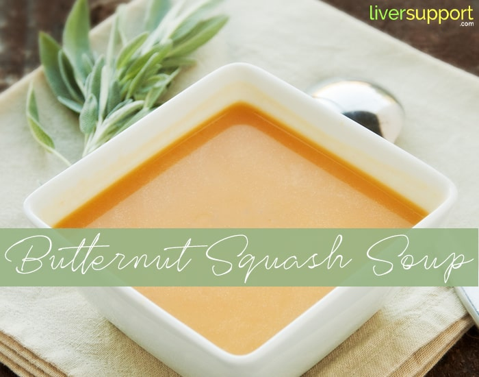 Bowl of vegetarian butternut squash soup with fresh sage