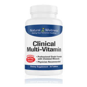 Clinical Multi-Vitamin contains vitamins B9 and B12.